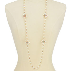 """Gold-Tone Crystal & Pearl Flower Necklace 42"""" +2"""""""